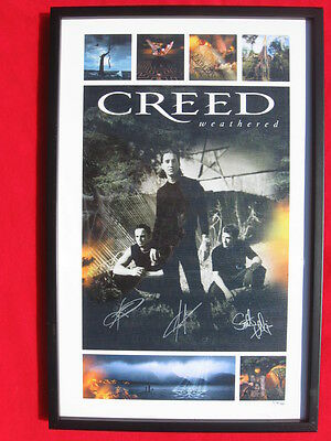 """Creed Weathered autographed framed lithograph 17"""" x 26"""" by all 3 #573/ 750"""