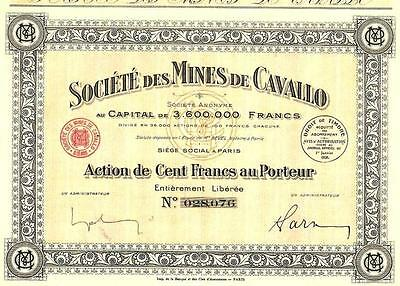 Africa Algeria France bond 1928 Lead Mine Cavallo 100 francs Uncancelled coupons