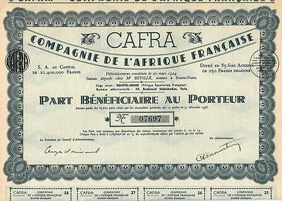French Africa France 1937 CAFRA Co. Agricultural & Forest Part Uncancelled coup