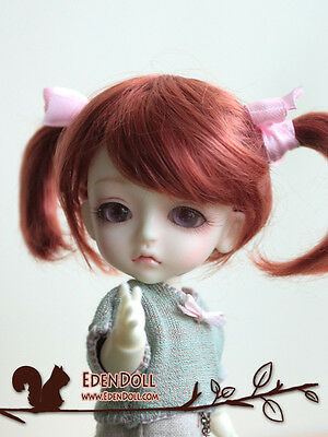 """[EDEN] LATI Doll Leaves 1/8 Carrot Red Pigtails wig 5~6"""""""