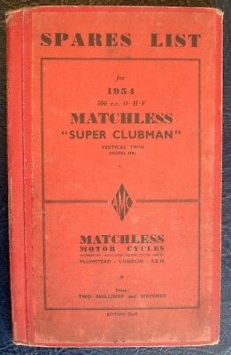 Matchless 500Cc Ohv - Hardback, Motorcycle Spares List - 1954  #cl-31
