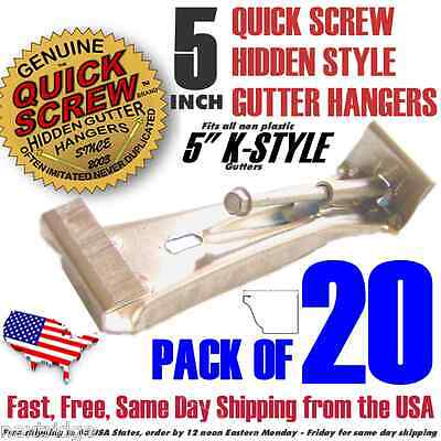 "20 5"" inch Quick Screw Hidden Rain Gutter Bracket Hangers clip style Heavy Duty"
