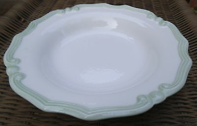 Italy Rimmed Soup Bowl White Green Celladon Ribbed Swirl Provincial Scroll Trim