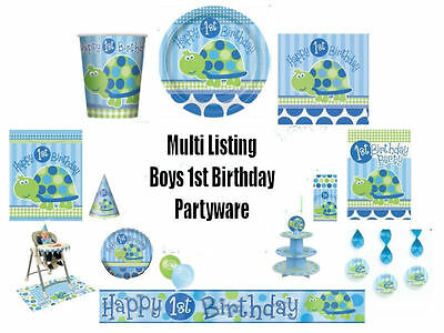 BABY BOYS 1ST BIRTHDAY BLUE PARTY TABLEWARE DECORATIONS NEW PARTYWARE