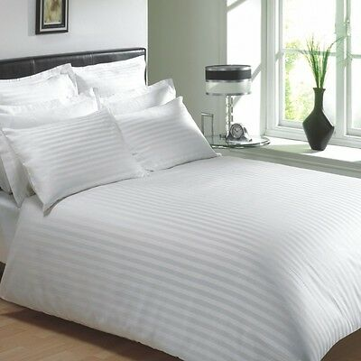 "Egyptian Cotton 400 Thread Classic Stripe White Double 12"" Deep Fitted Sheet"
