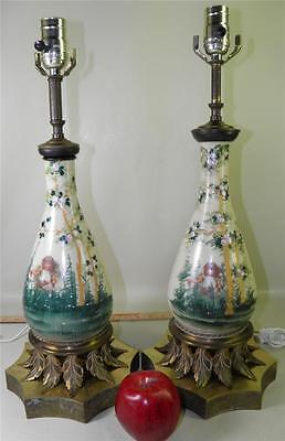 Antique Pair Opaline Glass Hand Painted Enamel Figural Floral Ornate Brass Lamps