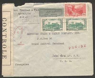 Lebanon To USA Airmail Censor Cover Pair Stamps + 1 L@@K