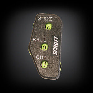 MPOWERED BASEBALL UMPIRE INDICATOR  PLASTIC NEON 4 DIAL *2 out 2 strike 3 ball