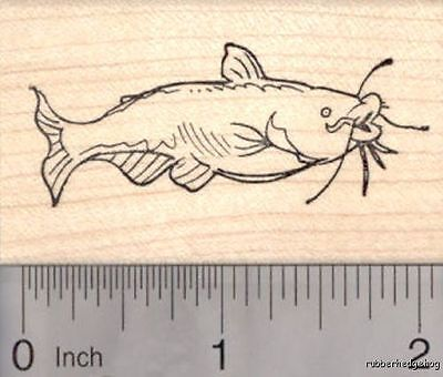 Channel Catfish Rubber Stamp, Blue Cat Fish G18008 WM