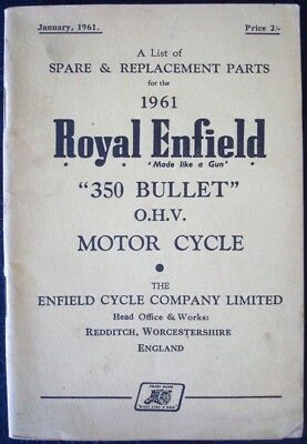 Royal Enfield 350 Bullet - Motorcycle Spares List -  Jan' 1961 #770/2 1/2 M/1/61