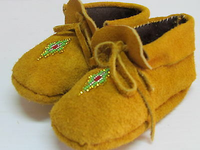 Native American Beaded Moccasins For Kids, W/ Ties,5 Inches, Unisex, Cozy Warm
