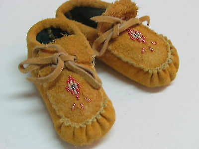 Native American  Beaded Moccasins For Babies, Warm Cozy , 4.5 Inches