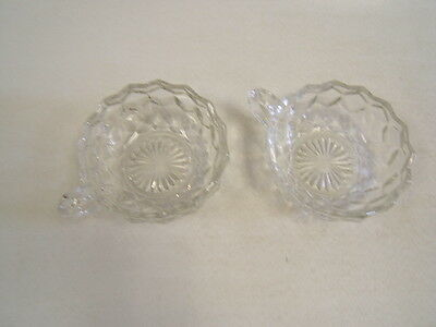 "Fostoria American Pair of Handled Nappys 4 1/2"" Crystal Clear Elegant Glass"