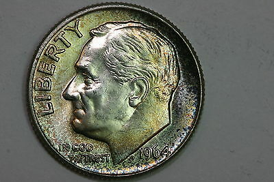 Beautiful Rainbow Toned 1964-D Roosevelt Dime Silver UD Coin - MS