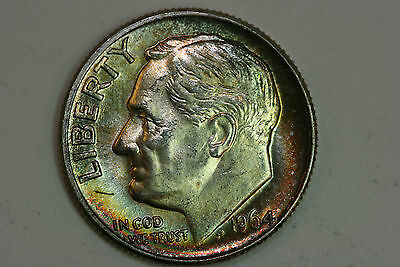 Lovely Rainbow Album Toned 1964-D Roosevelt Dime Silver UD Coin - MS