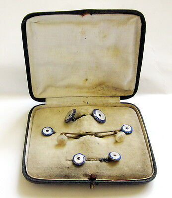 VINTAGE ANTIQUE 1900's TIE JEWELRY SET ENAMEL AND MOTHER OF PEARL IN BOX
