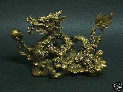 Elegant Chinese Brass Water Dragon Statue Figurine T1107a
