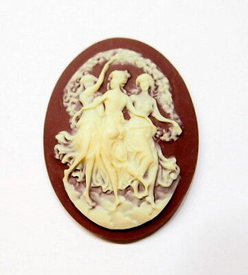 4 of 40x30 mm Cream over Brown Victorian Three Graces Muses Woman Dancing Cameos
