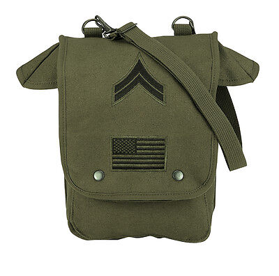 Army Bag Olive Drab GI Style Canvas Map Case Shoulder Bag w/ Embroidered Patches