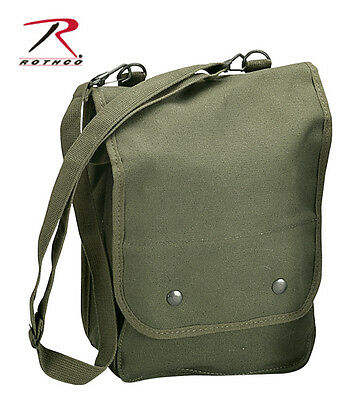 Army Style Map Olive Drab GI Style Soft Canvas Map Case Utility Shoulder Bag