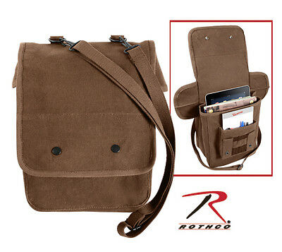 New Earth Brown GI Style Soft Canvas Map Case Utility Shoulder Bag w/ Strap