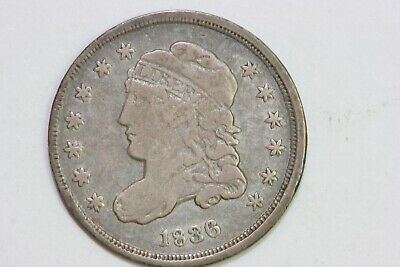 Very Fine Re-punched Stars Small Date 1836 Silver Capped Bust Half Dime (BHD212)