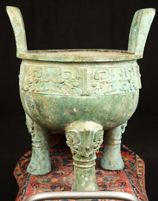 ANTIQUE CHINESE ANCIENT SHANG WEST ZHOU DYNASTY MING BRONZE DING DRAGONS & KANJI