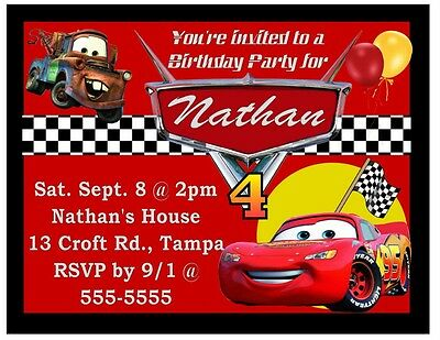 9 Magnetic Disney Cars Birthday Party Invitations Magnets