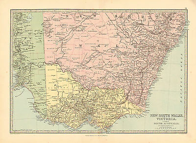 1880 Color Map of NEW SOUTH WALES and VICTORIA, AUSTRALIA, John Philip & Son