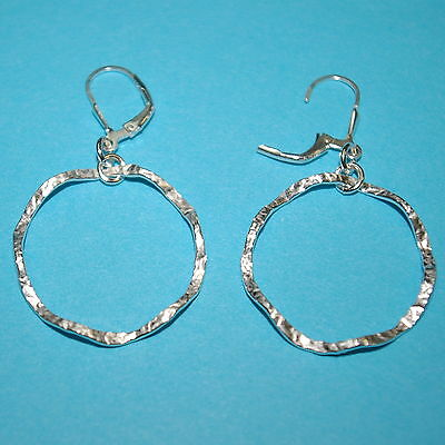 4 pairs Sterling Silver 925 Large HAMMERED Wavy CIRCLES Leverback Hook EARRINGS