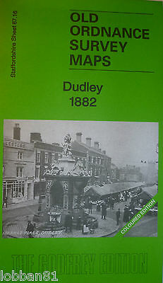 Old Ordnance Survey Map Dudley Staffordshire 1882 Coloured Godfrey Edition New