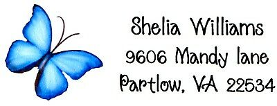 Blue Butterfly 2 Address Labels