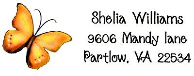 Orange Butterfly  Address Labels