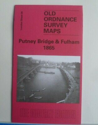 Old Ordnance Survey Detailed Maps Putney Bridge & Fulham London 1865 Godfrey Edt