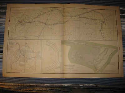 Antique 1891 Vicksburg Mississippi Atlanta Georgia North Carolina Civil War Map