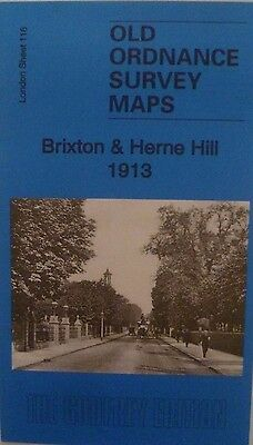 Old Ordnance Survey Maps Brixton & Herne Hill  London 1913 Godfrey Edition New