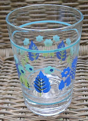 "Marcrest Swiss Alpine Royal Blue & Turquoise Flowers 4-3/4"" Juice Glass A5"