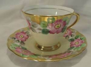VINTAGE TUSCAN TEA CUP & SAUCER CABBAGE ROSE TWO TONED GOLD Yellow