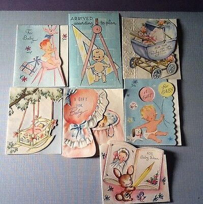 #D172- Vintage Lot Of 7 Mini New Baby Congratulations Greeting Gift Cards