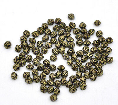 200 Hot Bronze Tone Bicone Spacer Beads 5x4mm