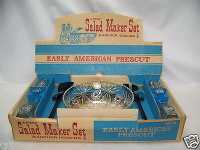 9pc ANCHOR HOCKING SALAD MAKER SET EARLY AMERICAN PRESCUT