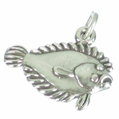 Flat Fish Halibut sterling silver charm .925 x 1 Fishing Fishes charms SSLP2633