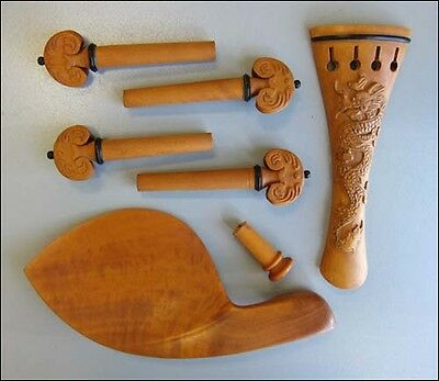 Hand Carved Boxwood 4/4 Violin Fittings, Pegs/Chinrest/Tailpiece/Endpin, Dragon