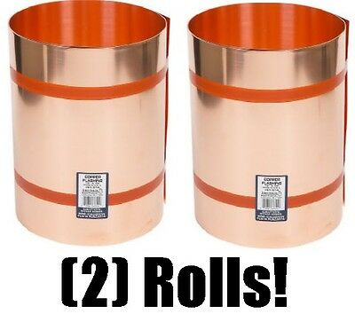 "(2) rolls Amerimax Home Products 67320 20"" x 10' 16 oz .021 Copper Roof Flashing"