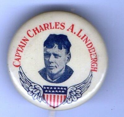 1920s pin  Captain Charles A. LINDBERGH pinback AVIATION Wings