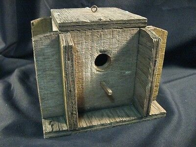 "Old Vintage Wooden Bird House ~ Unusual Style ~ 1"" ~ Wren ~ Cleanout"