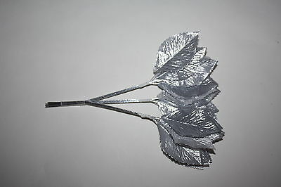 36  x SILVER SILK LARGE ARTIFICIAL ROSE LEAVES 60mm  SILVER WIRED STEMS