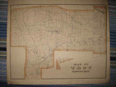 Antique 1876 Troy Township Townville Woodcock Crawford County Pennsylvania Map N