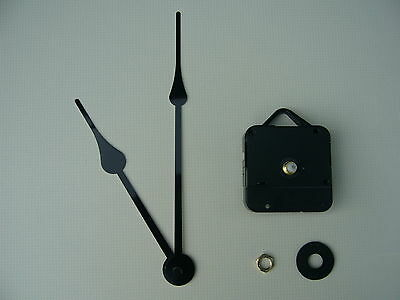HIGH TORQUE CLOCK MOVEMENT SHORT SPINDLE 175MM BLACK french spade metal hands