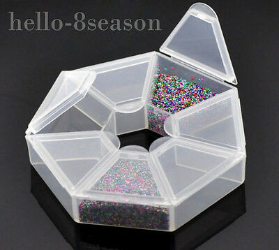 2x 7 Compartments Clear Plastic Craft Beads Jewellery Storage Organiser 9x9x2cm